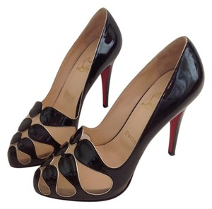 Christian Louboutin Moira Metal Patent Cutout Black Pumps