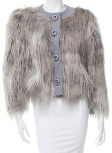 Prada Grey Silver New Fur Purple, Silver, Grey, Blue Jacket