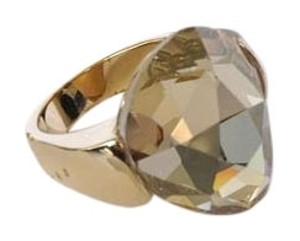 Swarovski Swarovski Gold Tone Crystal Teardrop Pear Shaped Cocktail Ring Size 52