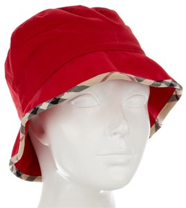 Burberry Red Burberry Nova check trim cotton bucket hat New