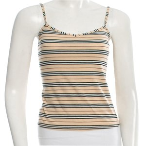 Burberry Brown Nova Check Nova Check Print Plaid Sleeveless New Camisole Stripe Striped L Large T Shirt Beige, Multicolor
