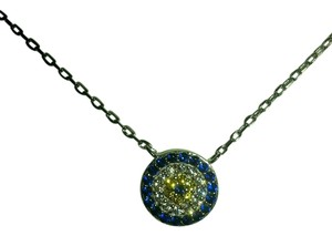 Other New small Sapphire diamond and citrine Evil eye necklace. sterling silver. 18 inch.
