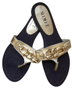 Mixit Hardware Flip Flops Brown and Gold Flats
