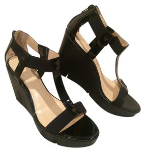 Calvin Klein Patent Leather Two-tone Wedge Classic Black Platforms
