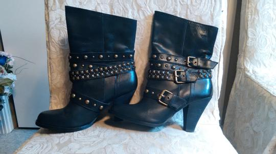 Naughty Monkey Belted Leather Geometric Buckle Studded Black Boots Image 1