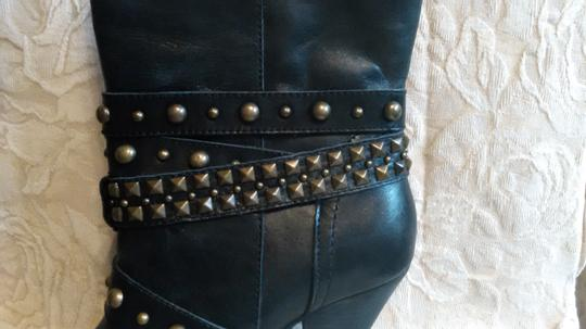 Naughty Monkey Belted Leather Geometric Buckle Studded Black Boots Image 10