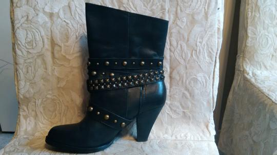 Naughty Monkey Belted Leather Geometric Buckle Studded Black Boots Image 2