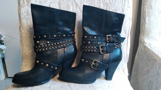 Naughty Monkey Belted Leather Geometric Buckle Studded Black Boots Image 3