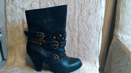 Naughty Monkey Belted Leather Geometric Buckle Studded Black Boots Image 7
