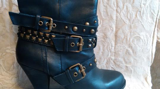 Naughty Monkey Belted Leather Geometric Buckle Studded Black Boots Image 9