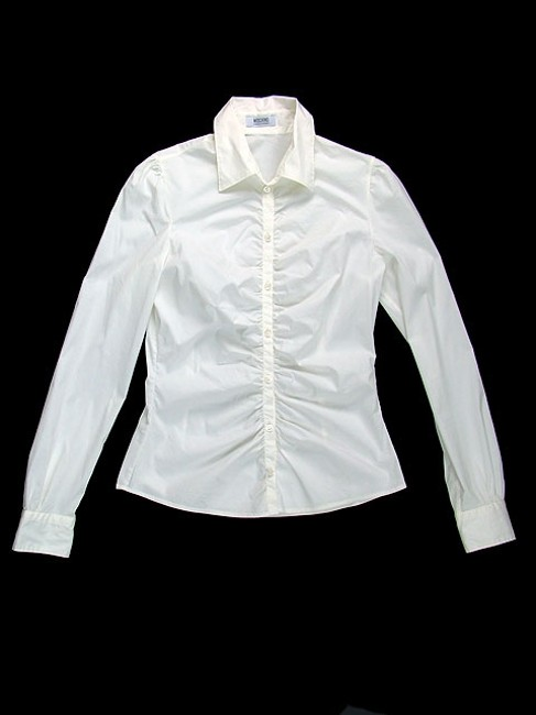 Moschino Fitted Cotton Ruched Button Down Shirt White