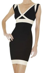 Hervé Leger Black Colorblock Dress