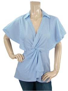 Nanette Lepore Striped Pinstripe Cotton Ruffle Top Blue, White
