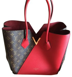 Louis Vuitton Lv Kimono Leather Monogram Tote in Brown & Red