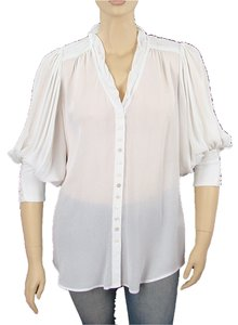 Nanette Lepore Trumpet Rayon V-neck Sheer Button Down Shirt White