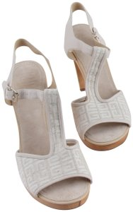 Givenchy Off White Ankle Strap Peep Toe Chunky Heel Beige Platforms