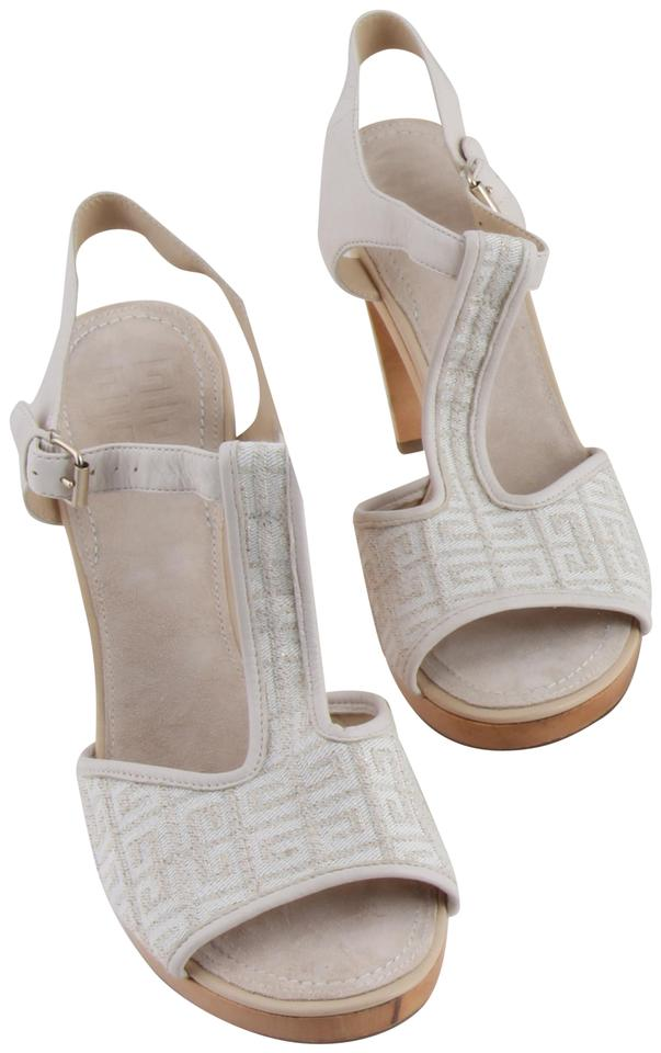 3c239a7e461 Givenchy Off White Ankle Strap Peep Toe Chunky Heel Beige Platforms Image 0  ...