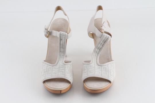 Givenchy Off White Ankle Strap Peep Toe Chunky Heel Beige Platforms Image 1