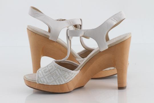 Givenchy Off White Ankle Strap Peep Toe Chunky Heel Beige Platforms Image 2