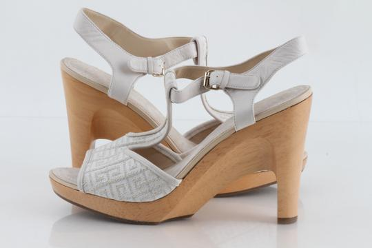 Givenchy Off White Ankle Strap Peep Toe Chunky Heel Beige Platforms Image 3