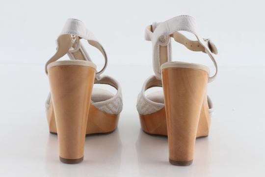 Givenchy Off White Ankle Strap Peep Toe Chunky Heel Beige Platforms Image 4