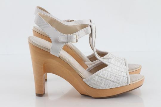 Givenchy Off White Ankle Strap Peep Toe Chunky Heel Beige Platforms Image 5
