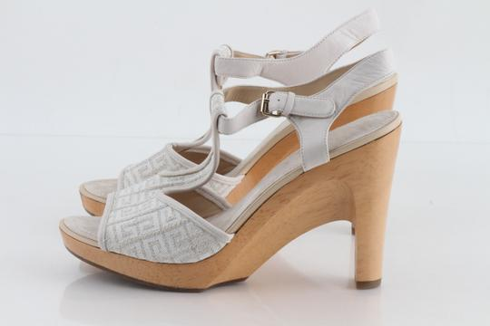 Givenchy Off White Ankle Strap Peep Toe Chunky Heel Beige Platforms Image 6