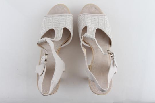 Givenchy Off White Ankle Strap Peep Toe Chunky Heel Beige Platforms Image 7
