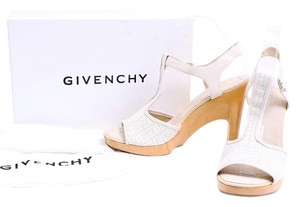 Givenchy Off White Tan Ankle Strap Peep Toe Chunky Heel Off White/Tan Platforms