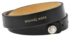 Michael Kors Michael Kors MKJ4898710 Adjustable Black Leather Double Wrap Bracelet
