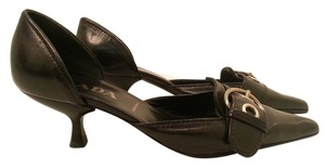 Prada Leather Kitten Heel Buckle Black Pumps