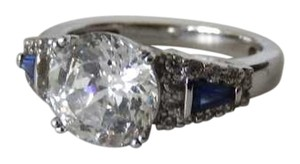 Absolute CZ and Sapphire Vintage Deco Look 2 Ct. Wedding Engagement Ring Sz. 5