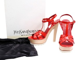 Saint Laurent Patent Leather Wood Heel Chucky Heel Sandals Red Platforms