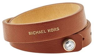 Michael Kors Michael Kors MKJ4897710 Adjustable Brown Leather Double Wrap Bracelet
