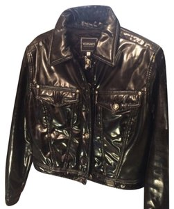 Versace Blac Leather Jacket