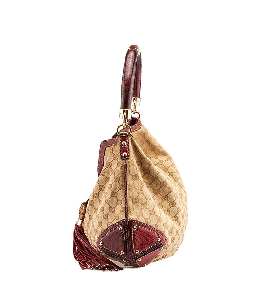 8b1cf04938873a Gucci Indy Snakeskin (71157) Beige & Red Canvas Python Hobo Bag - Tradesy