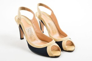 Salvatore Ferragamo Navy Nude Multi-Color Pumps