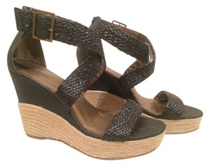 Victor Alfaro Braided Crisscross Strap Hemp Black & Tan Platforms