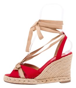 Christian Louboutin Tan & Red Wedges