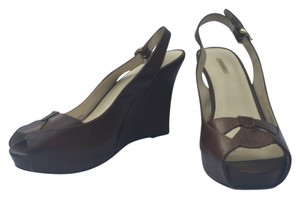 Max Studio Leather Tobacco brown Wedges