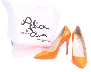 Alice + Olivia Devon Neon Pointed Toe Patent Leather Orange Pumps
