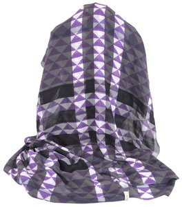 Burberry NEW BURBERRY $375 100% MULBERRY SILK VIOLET GEOMETRIC NOVA CHECK SCARF