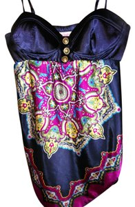 Candie's Top Deep navy with festive colors