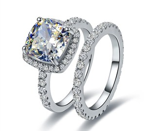 Nscd 3ct Center Band Cushion Square Simulated Cushion Cut Diamond Set Engagement Ring-any Finger Size Ring