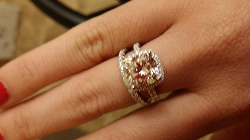 Nscd 3ct Center Band Cushion Square Simulated Cut Diamond Set Engagement Ring Any Finger Size Tradesy