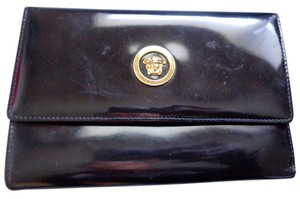 Versace Versace Black Vintage Medusa Kiss-lock Leather Clutch Coach Dust Bag