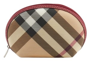 Burberry Burberry Tan & Black Nova Check Coated Canvas Cosmetic Bag (67367)
