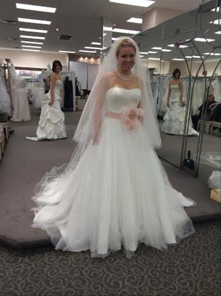 Ivory Tulle Strapless Ballgown With Veil Wedding Dress Size 6 S