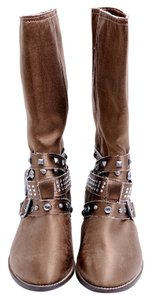 Guess Jewels Studs Flat Brown Boots