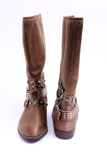Guess Jewels Studs Flat Brown Boots Image 1